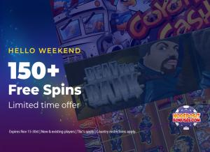 No deposit bonuses 150 free spins weekend offer